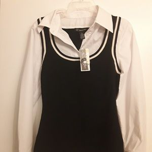 INC vest top with attached button up